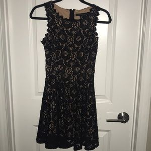 EUC. Cream with black lace mini dress. SIZE 0